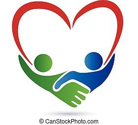 apretón de manos, gente, con, corazón, logotipo
