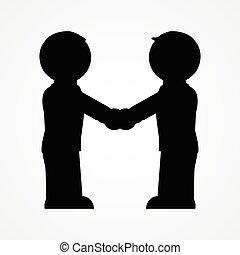 apretón de manos, gente, dos, icono