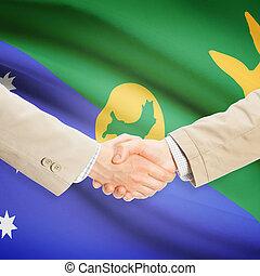 apretón de manos, isla, -, bandera, hombres de negocios, ...