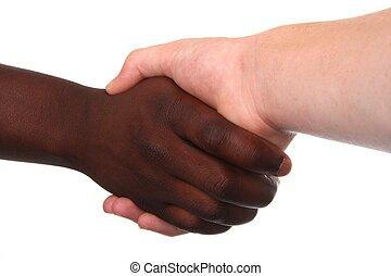 apretón de manos, multi racial