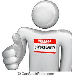 apretón de manos, nombre, oportunidad, nametag, persona, mi...