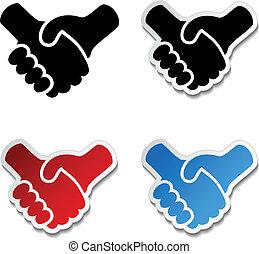 apretón de manos, pegatina, -, mano, cooperación, símbolo, ...