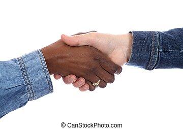 apretón de manos, racial, -multi