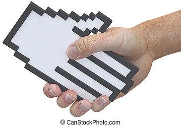 apretón de manos, sacudida, pixel, cursor, tecnología,...