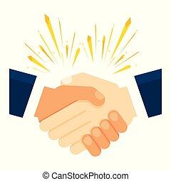 apretón de manos, socios, empresa / negocio