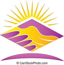 apretón de manos, y, sol, logotipo, icono