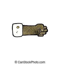 apretado, símbolo, caricatura, puño
