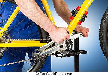 apretar, bicicleta, mecánico, pedal