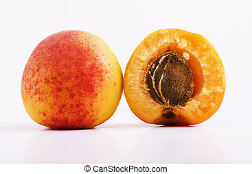 apricot and half apricot with drupe