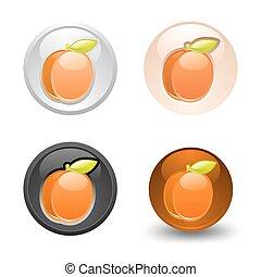 Apricot button, set, web 2.0 icons