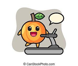 Apricot cartoon character walking on the treadmill