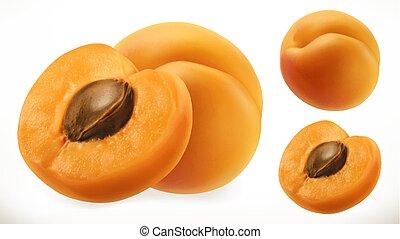 apricot., fruta fresca, 3d, realístico, vetorial, ícone