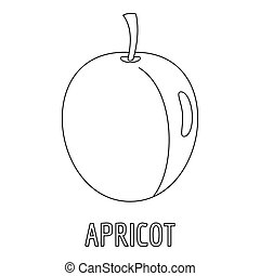 Apricot icon, outline style.
