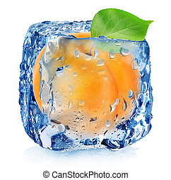 Apricot in ice cube