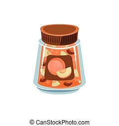 Apricot Jam In Transparent Jar