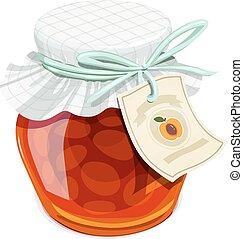 Apricot jam jar. Vintage style