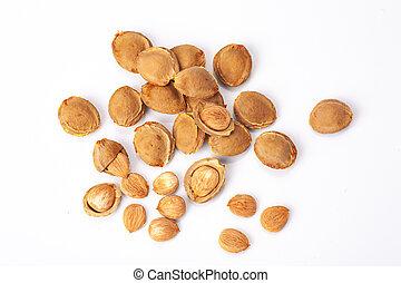 apricot kernel isolated on white background, ecologic food