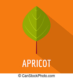 Apricot leaf icon, flat style