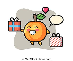Apricot mascot cartoon giving the gift