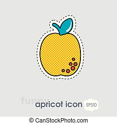 Apricot, Peach with leaf icon. Apricot fruit sign