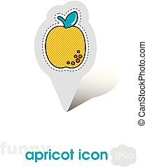 Apricot, Peach with leaf pin map icon