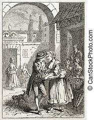 Old illustration of a woman selling apricots. Created by Gogefroy-Durand, published on L'Illustration Journal Universel, Paris, 1857