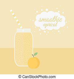 Apricot smoothie in jar on a table