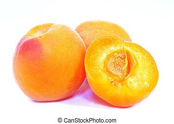 Apricot studio shot - Studio shot of a freshly cut apricot.
