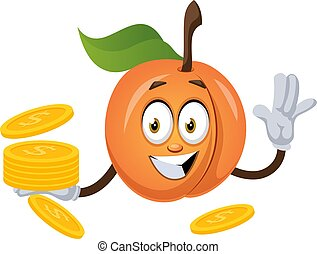 Apricot with coins, illustration, vector on white background.