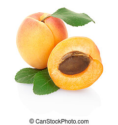 Apricot with leaves isolated on white, clipping path included