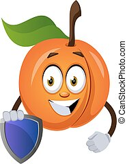 Apricot with shield, illustration, vector on white background.