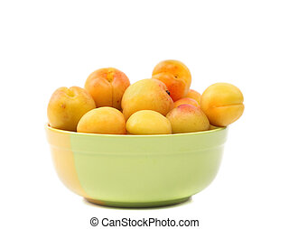 Apricots in a deep plate.