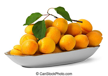 Apricots, isolated on white background