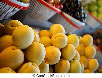 Fresh apricots on display.