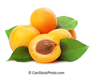 Apricots with leaves on a white background