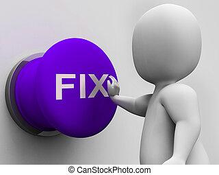 aprieto, botón, exposiciones, reparación, defectos, y,...