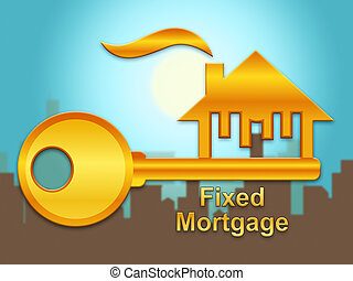 aprieto, préstamo de hipoteca, -, ilustración, o, propiedad...