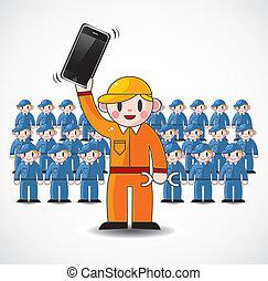 aprieto, trabajador, caricatura, equipo