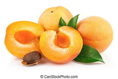 aprikos, frukter, med, grön leaf