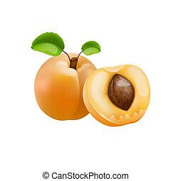 aprikos, med, grönt lämnar