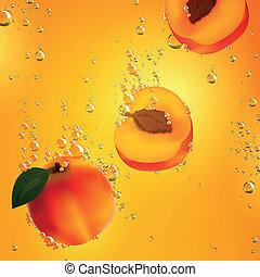 aprikosen, fallender , vektor, flüssiglkeit