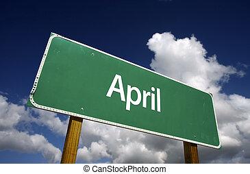 april, 绿色, 路标