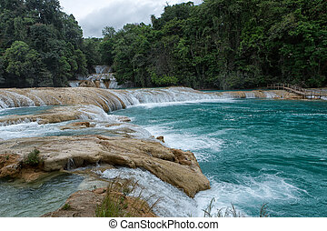 April 16, 2014 Tumbala, Mexico: the 'Agua Azul' waterfall consists of many cataracts following one after another and is one of the main attractions of the state of Chapas