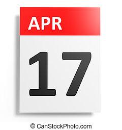 april., 17, calendario, fondo., blanco