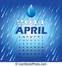 April 2011 - Vector Illustration of 2011 Calendar with a...