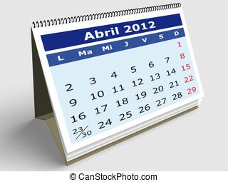 April 2012 - April month in Spanish. 2012 Calendar. 3d...