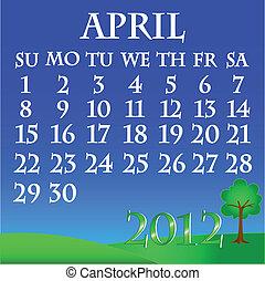 April 2012 landscape calendar