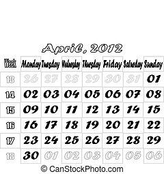April 2012 monthly calendar v.2