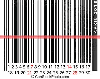 APRIL 2013 Calendar, Barcode Design. vector illustration