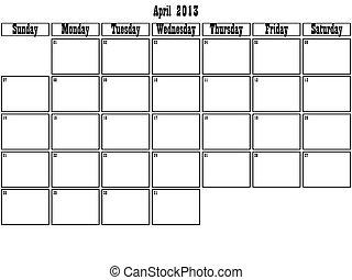 April 2013 planner
